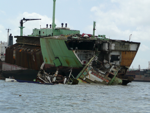Ship being demolished