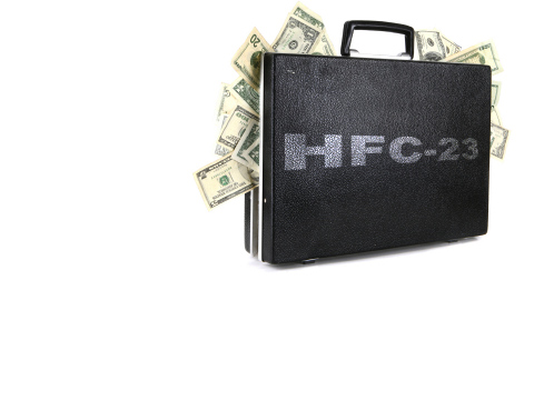 HFC-23 briefcase full of cash