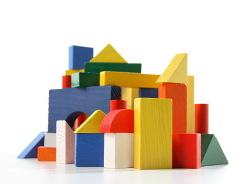 city made of child's wooden blocks