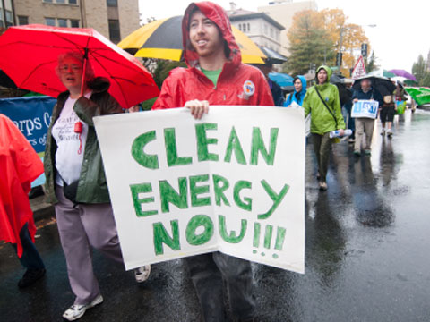 Clean energy protestor
