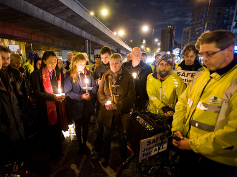 Cyclist's vigil at Bow following the sixth cyclist death in 2 weeks. Photo: Ben Broomfield.