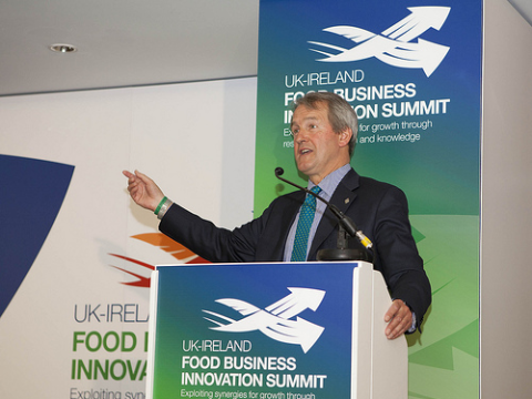 Owen Paterson speaking at food business innovation summit. Photo: UKTI / Flikr.com.