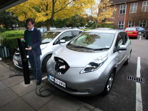 An electric Nissan Leaf provided by e-car club. Photo: e-car club.
