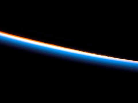 The Earth's atmosphere photographed by the Atlantis crew, 8th February 2008. NASA.