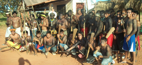 Kayapo Indians on a road block to stop the Belo Monte Dam in the Brazilian Amazon. Photo: International Rivers via Flickr.com.