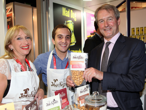 Would you buy popcorn from Owen Paterson? And no, it's not GM. With Joe & Sephs Gourmet Popcorn. Photo: UKTI via Flickr.com.