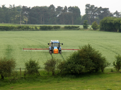 Crop spraying near Harvington, Worcestershire, England. Photo: muffinn via Flickr.com.