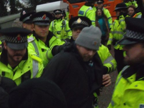Arrested for walking on a public footpath. Photo: Salford Star.