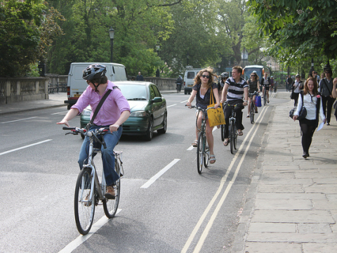 The solution to the UK's air pollution is clear - more walking, cycling, public transport, and less traffic. Photo: Magdalen Bridge, Oxford, by Tejvan Pettinger via Flickr.com.