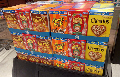 General Mills breakfast cereals at the Entrance to Price Chopper February 2014. Photo: Mike Mozart / JeepersMedia via Flickr.com.