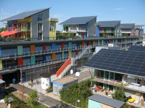 A recent residential development in Germany with all-solar PV roofing. Soon the whole world will be doing this - and probably adding solar walls to the mix.