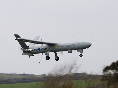 Watchkeeper UAV first flight in UK at MoD Aberporth. 14th April 2010. Photo: Think Defence via Flickr.com.