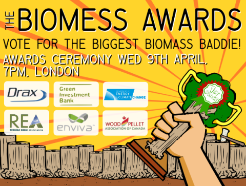 Invitation to the Biomess Awards 2014. Image by BioFuelWatch.