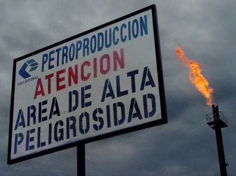 PetroEcuador warning sign, Ecuadorian Rainforest, 2005. Photo: 00rini hartman via Flickr.com.