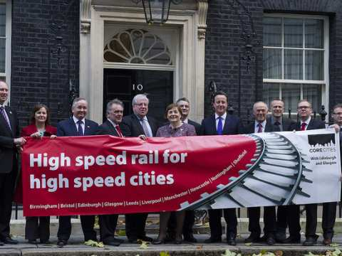 Bringing out the big guns for HS2, 21st November 2013. Too bad they're all wrong. Photo: BCC Birmingham News room via Flickr.com.