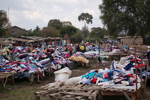 Used clothes from wealthy countries on sale at Nanyuki Market, Kenya. Photo: Konrad Glogowski via Flickr.