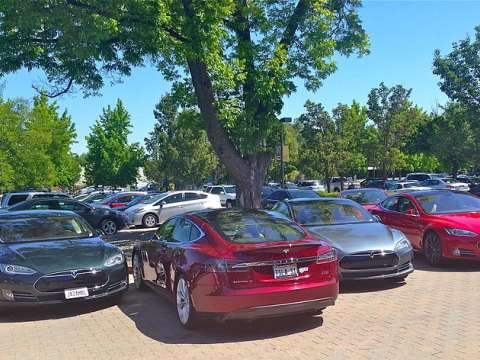 Tesla Model S electric cars at the company's 2014 AGM. Photo: Steve Jurvetson / Wikimedia Commons.