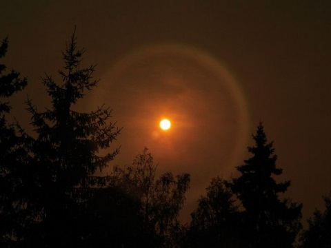 Smoke from Russian forest fires obscures the Sun in 2010. Photo: Ximonic, Simo Räsänen via Wikimedia Commons.