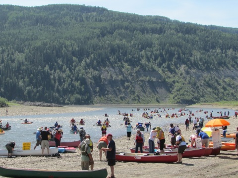 About 250 boats took to the Peace River for the 'Paddle for the Peace' event on Saturday 12th July 2014. Photo: Emma Gilchrist.