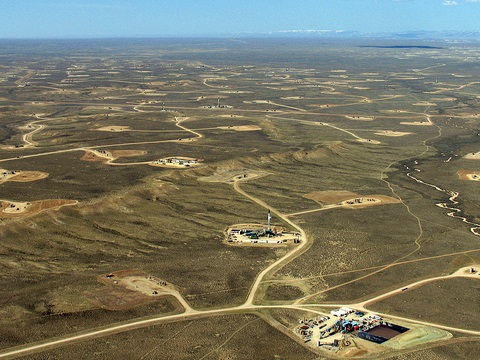 Aerial view of the Jonah gas field in western Wyoming's upper Green River valley. Photo: Bruce Gordon / EcoFlight via John Amos / Flickr.