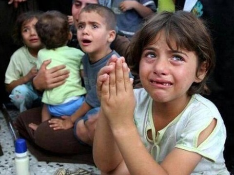 Children in fear, Gaza. Source: unknown.