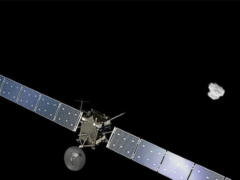 Rosetta approaching its destination after a 6 billion km journey. Image: ESA.
