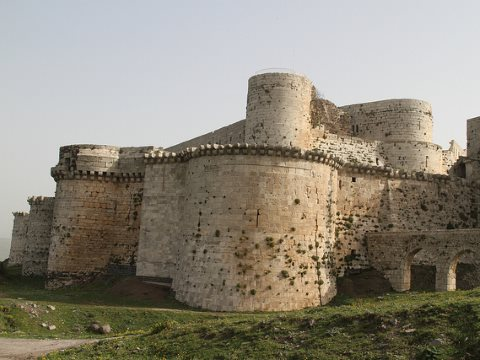 Krak des Chevaliers, the greatest of all the crusader castles, located in modern day Syria. Gavin Bannerman via Flickr.