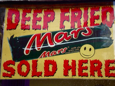 Who needs vegetables when there's deep-fried Mars Bars to eat? Photo: karendesuyo via Flickr.