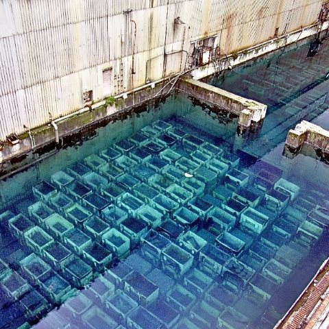 The B30 pond showing a full loading with fuel rods. Photo: unknown.
