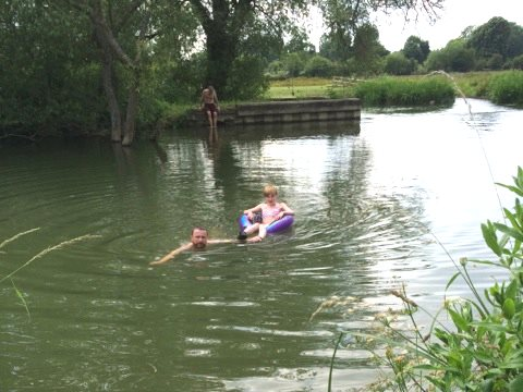 Families swimming in the Thames at Long Bridges, Oxford earlier this month. Photo: Zoe Broughton.