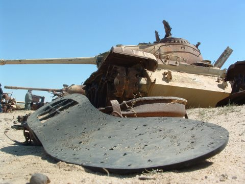 Sole of shoe at 'Highway of Death' in Iraq, where DU munitions were used to destroy tanks and other vehicles of Saddam Hussein's retreating army in Gulf War I. Photo: Christiaan Briggs via Flickr.
