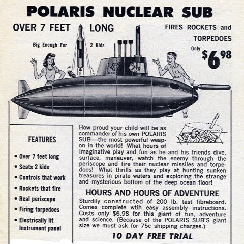 Polaris Nuclear Sub from Honor House advertisement published in the November 1967 issue of Workbasket magazine. Photo: clotho98 via Flickr.