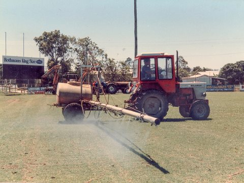 Lorsban is sprayed on a soccer pitch to control grubs, 1987. Photo: srv007 via Flickr.