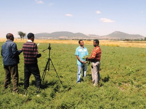 Digital Green records a discussion on best agronomic practice with an Ethiopian farmer for dissemination among his peers. Photo: Digital Green.
