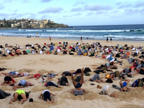 The original heads in sand salute at Sydney's Bondi Beach. Photo: unknown.