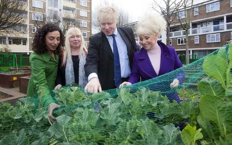 London Mayor Boris Johnson and actress Barbara Windsor enjoy a street party in Tower Hamlets with the Rocky Park Urban Growers - a local project to plant vegetables and transform a neglected space in the community.