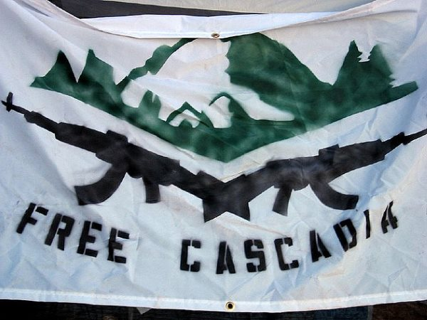 'Free Cascadia' banner. Photo: ario_ via Flickr (CC BY-NC-SA). Design by Joe Martin.