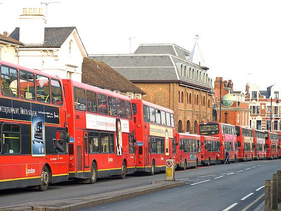 It's time to get smart about public transport! A 'bus jam' on Putney Hill, London. Photo: Chris Guy via Flickr (CC BY-NC-ND 2.0).