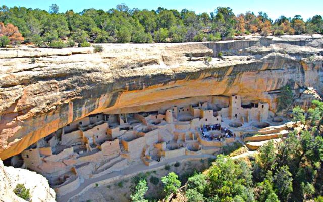 Will we go the way of the Ancient Pueblo People? Climate models say we will, this century. Photo: Cliff Palace, Mesa Verde National Park, by Lorax via Wikimedia Commons.