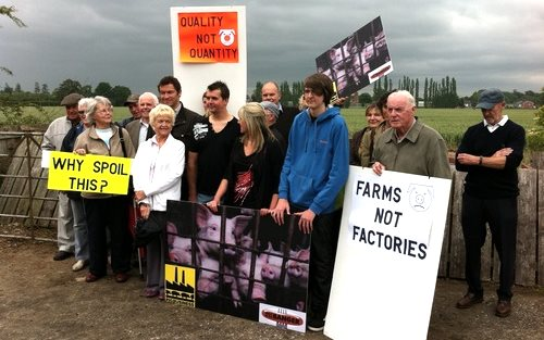 Protestors against the proposed 25,000-pig factory farm at Foston, Derbyshire. Photo: Farms not Factories.