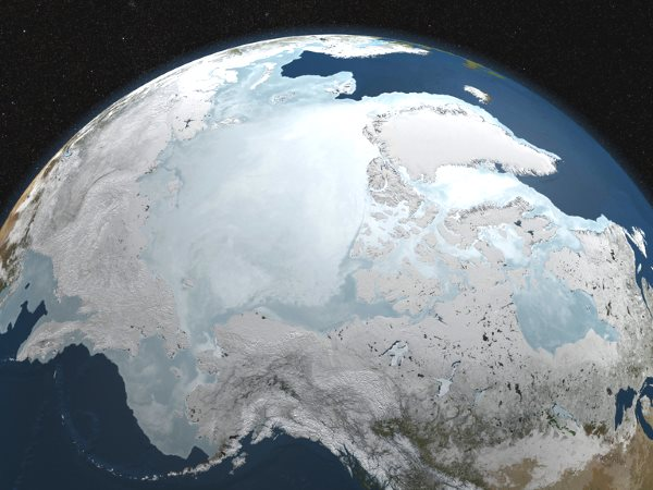 NASA image of the Arctic sea ice on March 6, 2010. Image: NASA / Goddard Space Flight Center Scientific Visualization Studio; Blue Marble data courtesy of Reto Stockli (NASA/GSFC), via Flickr (CC BY 2.0).