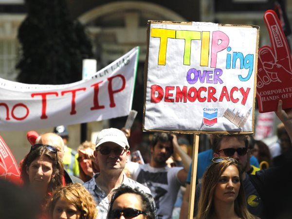 Protestors against the TTIP EU-US trade deal in London, 12th July 2014. Photo: Global Justice Now via Flickr (CC BY 2.0).