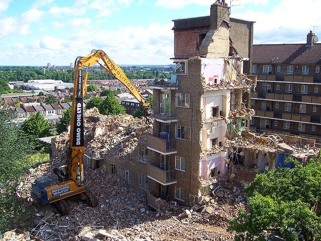 Destruction driven by the 20% VAT penalty on property refurbishment? Demolition of Wychwood House on the Woodberry Down Estate, London in June 2007. Photo:  Sarflondondunc via Flickr (CC BY-NC-ND 2.0).