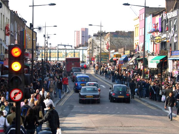 Kentish Town Road, London, at Camden Lock - where the car is king, cyclists are princes, and the thousands of pedestrians have to make do with what's left to them. Photo: Paolo Margari via Flickr (CC BY-NC-ND 2.0).
