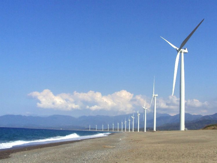 Blue skies shining on renewable energy ... Bangui Windmills, located in Bangui, Ilocos Norte, Philippines. Photo: Paolo Dala via Flickr (CC BY-SA).