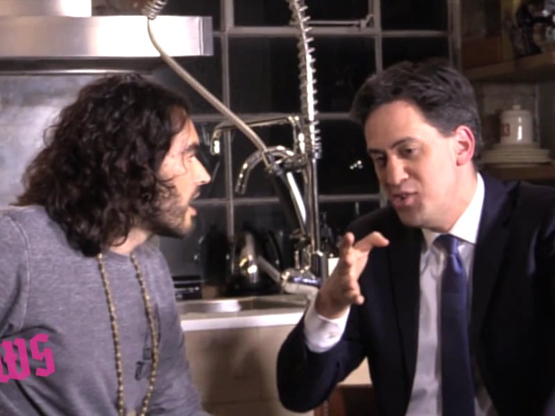Ed Miliband interviewed by Russell Brand on the Trews., Photo: the Trews via Youtube.