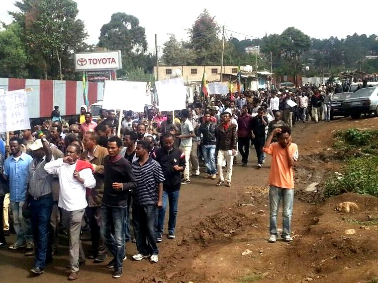Where were the GMO 'humanitrian' lobbyists? Hundreds of thousands of protesters in Ethiopia's capital Addis Ababa demanding an end to the eviction of Oromo farmers for agricultural 'development' projects, 24th May 2014. Photo: Gadaa.com via Flickr (CC B