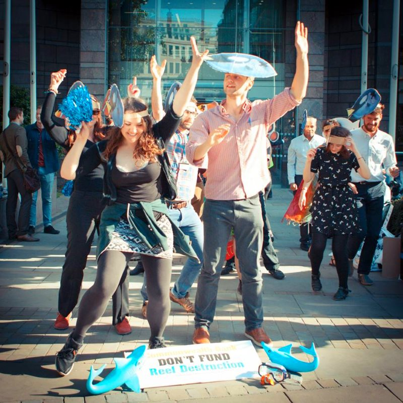 Divest London protestors at last week's action at CommBank, the Commonwealth Bank of Australia. Photo: Divest London via Facebook.