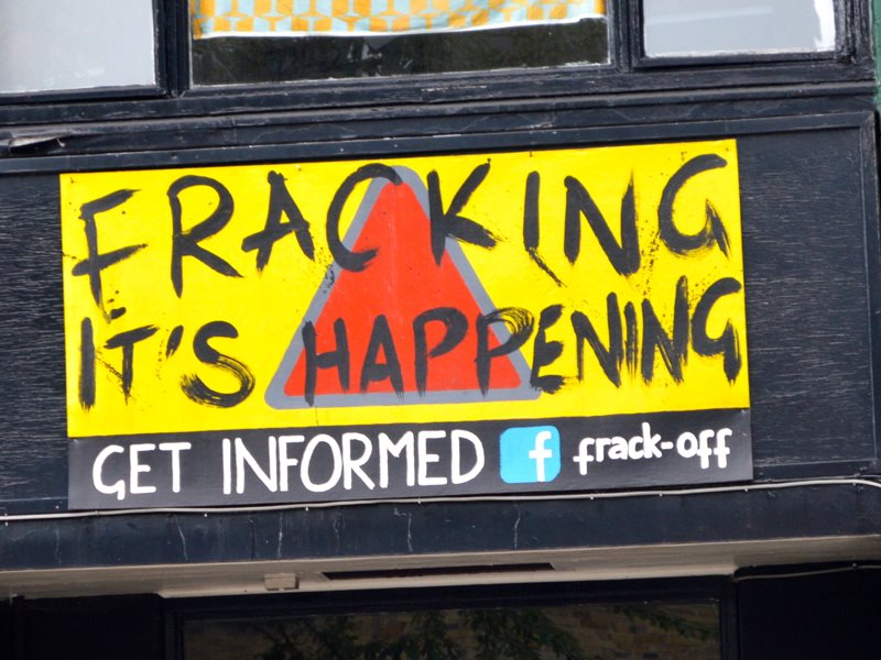 Fracking - it's happening! Get informed / Frack Off. Street sign in Brixton, South London. Photo: Matt Brown via Flickr (CC BY).