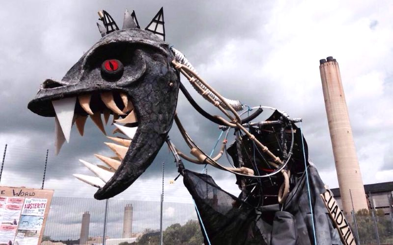 'Cuadzilla' out for a wander on 1st June 2015 at #ReclaimThePower day of actions against dirty fossil fuel companies. Photo: via Frack Free Lancashire.